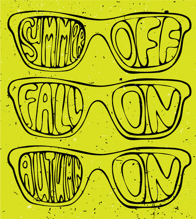 bye: Summer off, fall on illustration concept, sunglasses on bright background with autumn lettering, textured