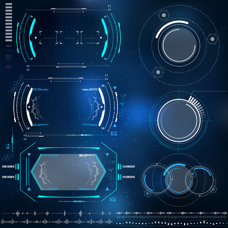 set of technological elements HUD design, futuristic elements with virtual reality Vectores