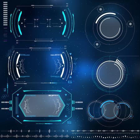 set van technologische elementen HUD ontwerp, futuristische elementen met virtual reality Stock Illustratie