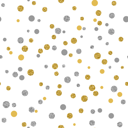 gold silver: Cristmas seamless background with glitter gold and silver dots on white background