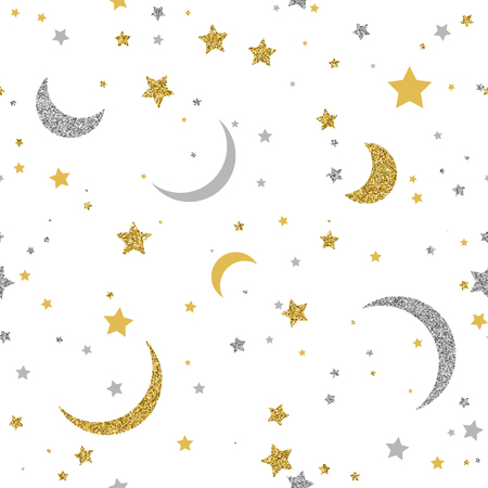 Starry seamless pattern with gold and silver dots on white background