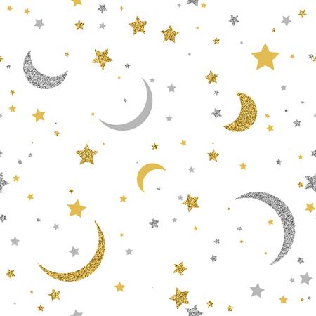 Sterren naadloos patroon met gouden en zilveren stippen op witte achtergrond Stock Illustratie