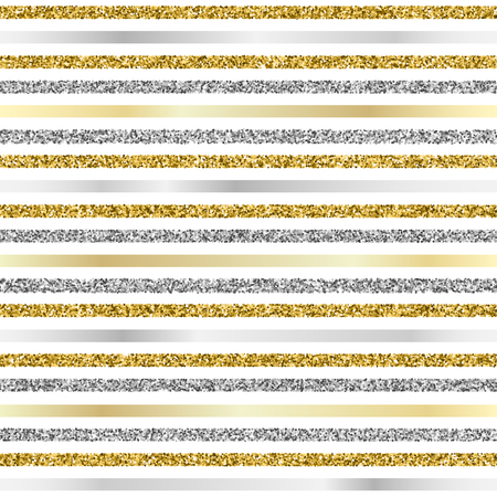 Cristmas seamless background with glitter gold and silver strips on white background