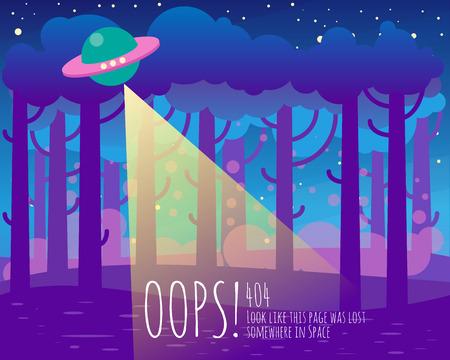 404 pagina flat template achtergrond met ruimte ufo, aarde landschap Stock Illustratie