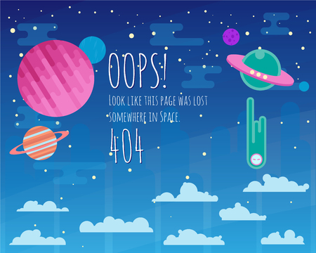 lost in space: 404 page flat template background with space ufo, solar system elements