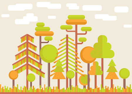 orange trees: Flat illustration about autumn trees landscape, bright orange and green colors