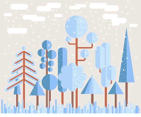 broun: Winter Forest Flat Illustration in light blue and broun colors Illustration