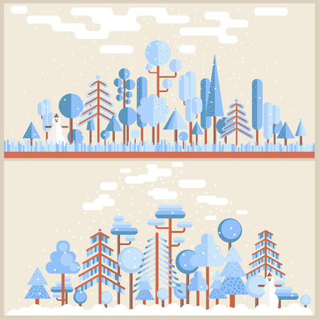winter colors: Winter Forest Flat Illustration in light blue and broun colors Illustration