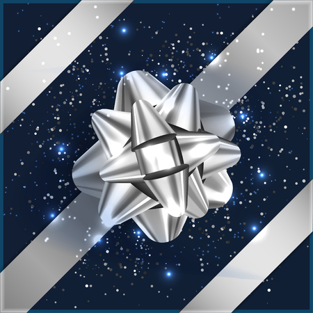 inkle: Silver Bow on gift box, confetti, tape vector illustration