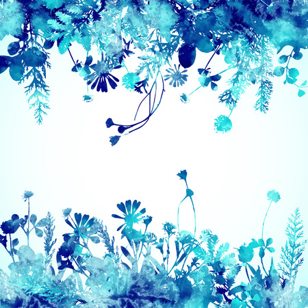 Watercolor winter leaves isolated on white background Vektorové ilustrace