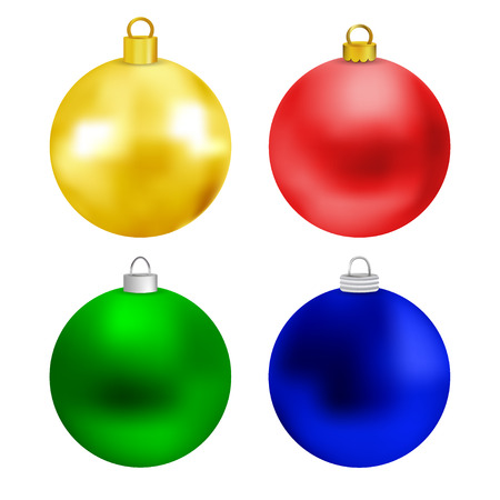 Set of colored christmas balls isolated on white background