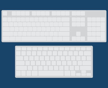 computer keyboard: Set of two flat isolated keyboards, vector realistic illustration