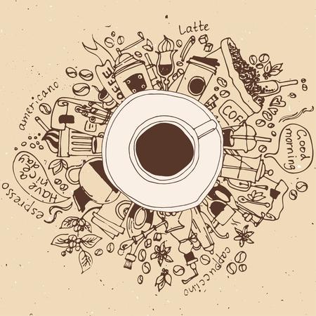 Morning coffee break doodle concept