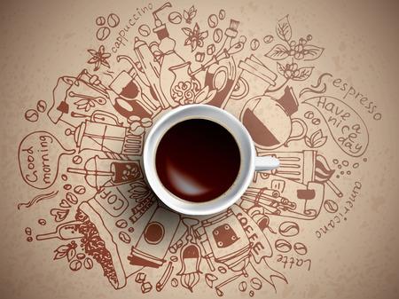 커피 낙서 개념