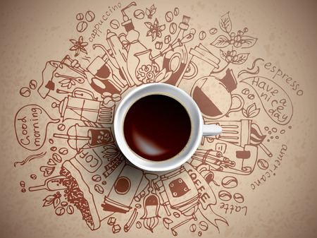 Coffee doodle concept