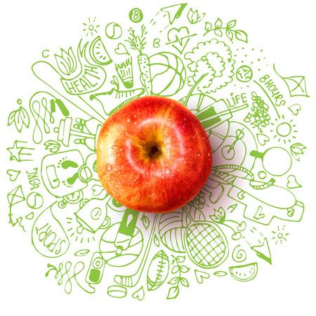 Concetto di stile di vita sano con mela e doodles Vettoriali