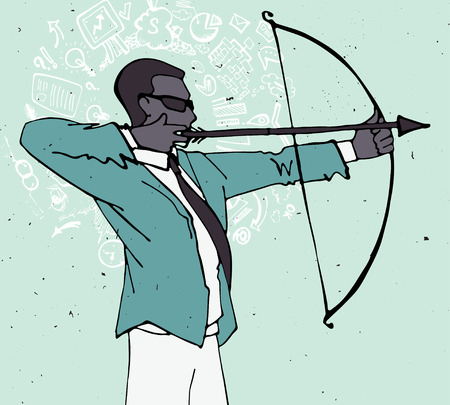 serious business: Businessman with bow and arrow, archery business illustration