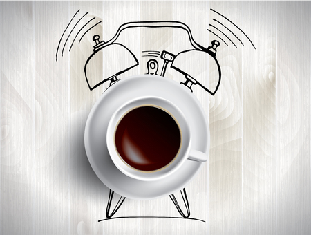 Alarm clock and coffee concept illustration with doodle