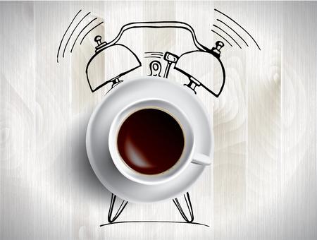 Wekker en koffieconceptillustratie met krabbel Stock Illustratie