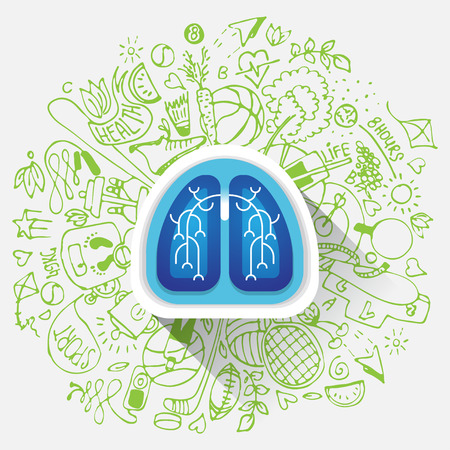 breathe: Lungs illustration - halth care sketch with sport icons and lung