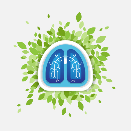 respiratory protection: Lungs and leaves illustration, health concept