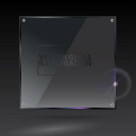 black button: Vector black square glass - - transparent background and banner
