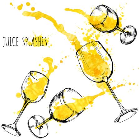 water: Juice orange and apple splashes in wine glasses, watercolor, sketch vector illustration