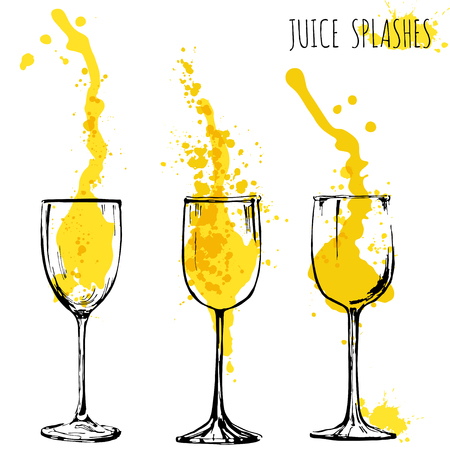 Juice orange and apple splashes in wine glasses, watercolor, sketch vector illustration