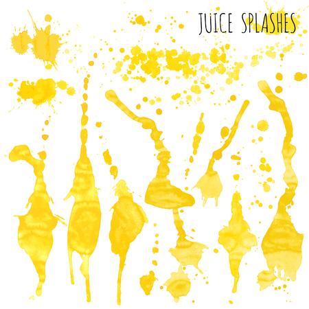 Juice orange and apple splashes, watercolor, sketch vector illustration