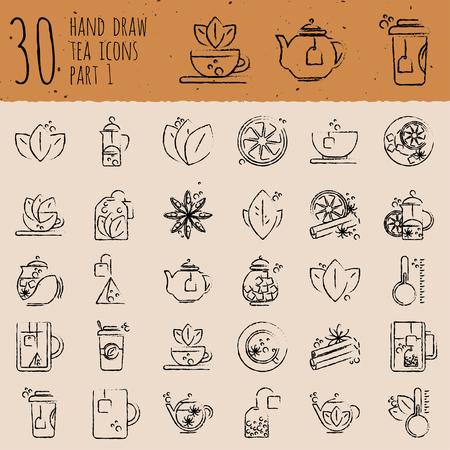 Thee handteken pictogram set - kopje, tas, waterkoker met kruiden en citroenen, getekend met borstels