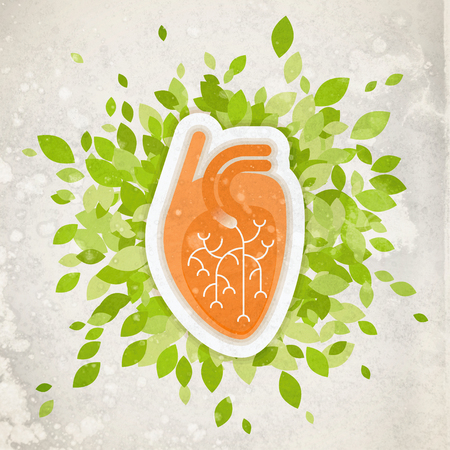 Flat textured illustration - human heart with green folliage, concept about health and healthy environment