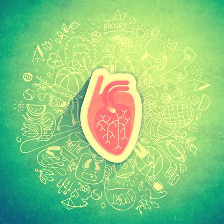 Strukturiertes Konzept des menschlichen Herzens über gesunden Lebensstil und Langlebigkeit mit skizzierten Elementen Standard-Bild - 76576608