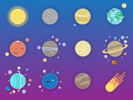 Solar system icons - planets, comet, satellite of the planets flat illustration