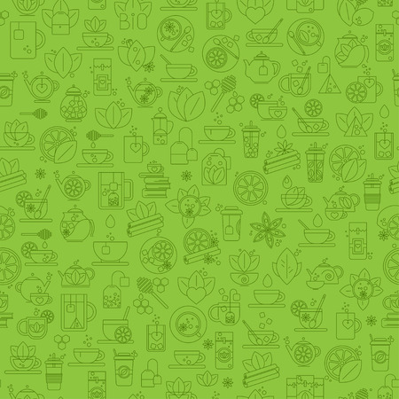 Tea seamless background with thin line icons - green tea pattern Illustration