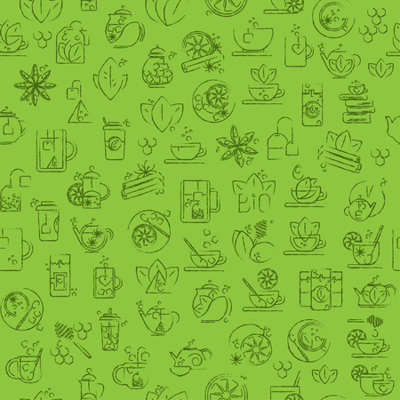 plant to drink: Tea seamless background with thin line icons - green tea pattern Illustration
