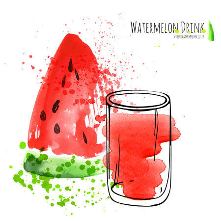 Watermelon drink with slice of watermelon. Fresh juice in glass with watermelon peace. Watercolor hand draw art work.