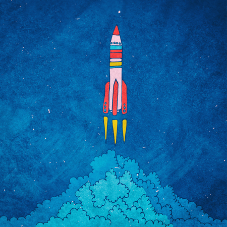 Rocket sketched  illustration with clouds Stock Photo