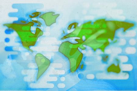 World map cartoon textured flat illustration