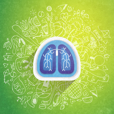 Lungs illustration - halth care sketch with sport icons and lung