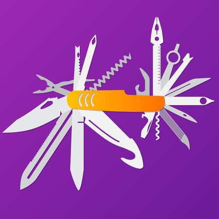 multifunction flat knife illustration,Swiss knife, multipurpose penknife, army knife vector. Illustration
