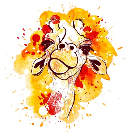 Watercolor and sketch hand draw giraffe illustration. Orange T-shirt animal giraffe print Stock Illustration - 79541013