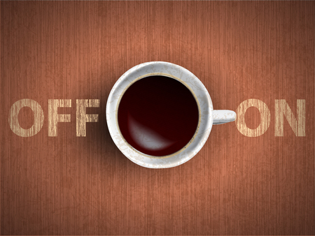 Coffee cup concept - Off and On lettering with muf of cofee