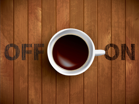 cappucino: Coffee cup concept - Off and On lettering with muf of cofee