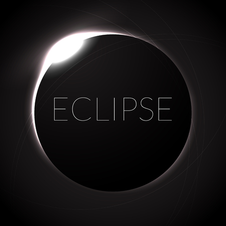 Full eclipse vector illustration. Eclipse with ring of sun in deep space. Full Solar eclipce, dark colors Illustration