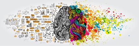Linkes rechtes Konzept des menschlichen Gehirns Vektorgrafik