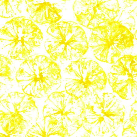 Lemon stamp seamless background. Lemon juice pattern with stamp of yellow silhouettes