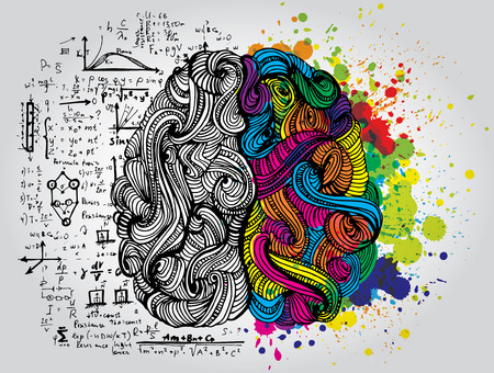 Lewy i prawy ludzki mózg. Twórcza połowa i logiczna połowa ludzkiego umysłu. Ilustracja wektorowa.