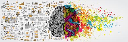 Cerebro humano izquierdo y derecho con infografía social en el lado lógico. Medio creativo y mitad lógica de la mente humana. Ilustración vectorial aboud comunicación social y el trabajo de negocios