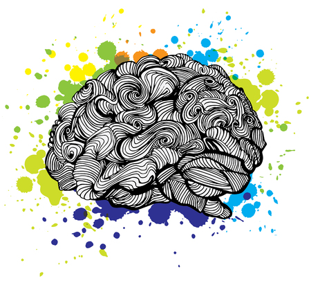 doodling: Brain Bright Idea illustration. Doodle vector concept about human brain and Ideas. Creative illustration