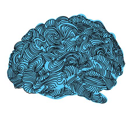 Brain Idea illustration. Doodle vector concept about human brain. Creative illustration